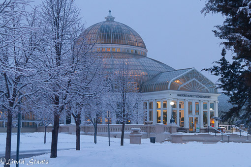 McNelly Conservatory after fresh snowfall_Staats12062
